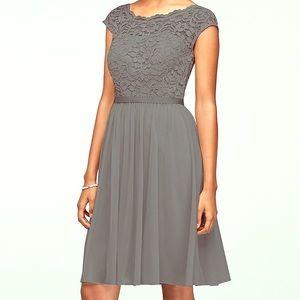 David's Bridal grey short illusion neckline dress